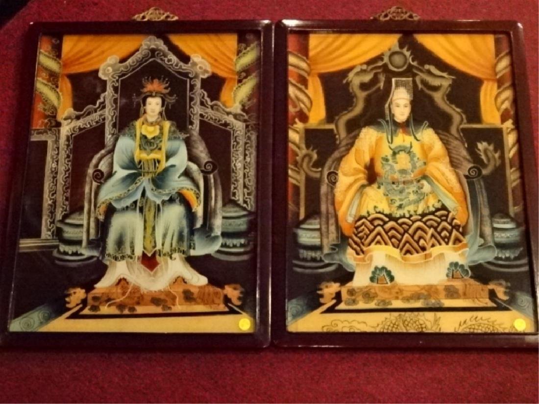 2 CHINESE REVERSE PAINTINGS ON GLASS, EMPEROR AND