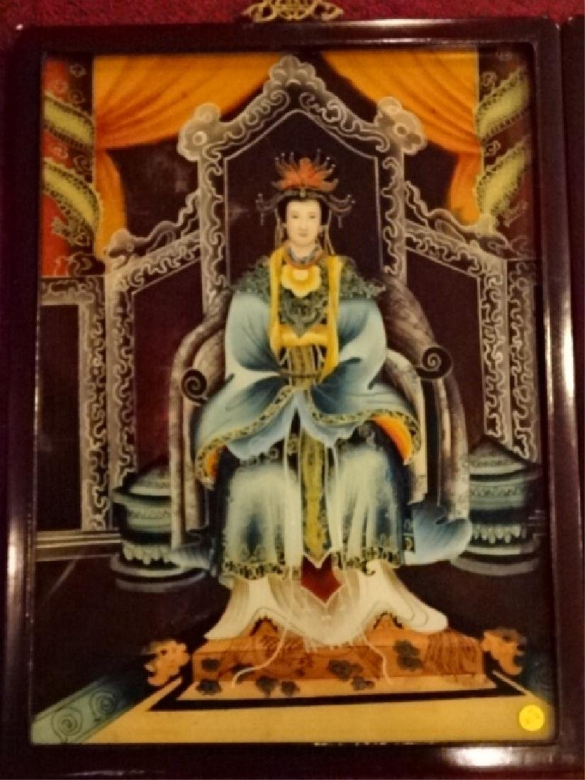 2 CHINESE REVERSE PAINTINGS ON GLASS, EMPEROR AND - 2