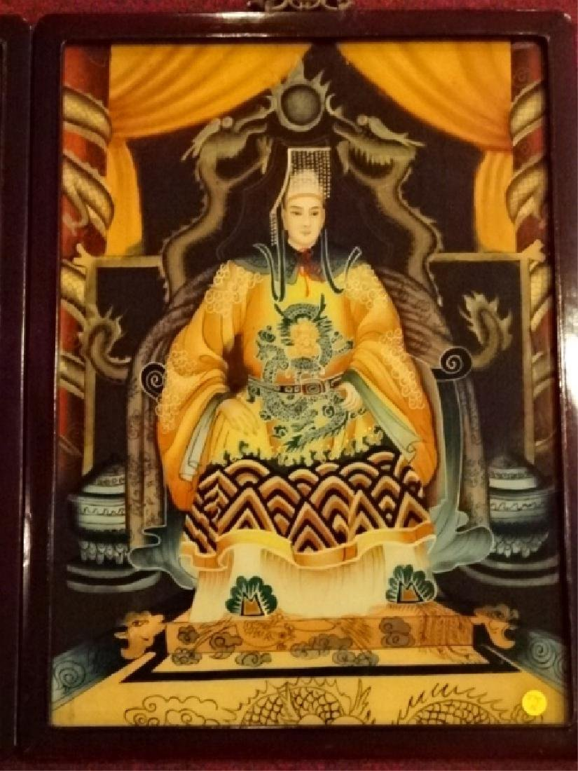 2 CHINESE REVERSE PAINTINGS ON GLASS, EMPEROR AND - 3
