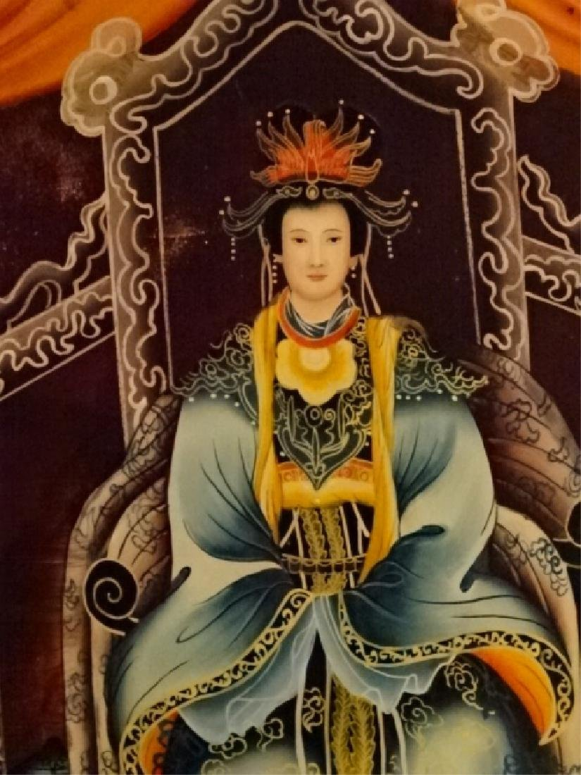 2 CHINESE REVERSE PAINTINGS ON GLASS, EMPEROR AND - 5