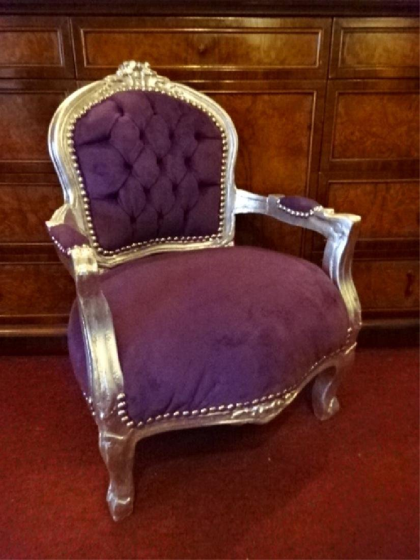 LOUIS XIV STYLE SILVER GILT CHILD'S CHAIR, PLUM TUFTED