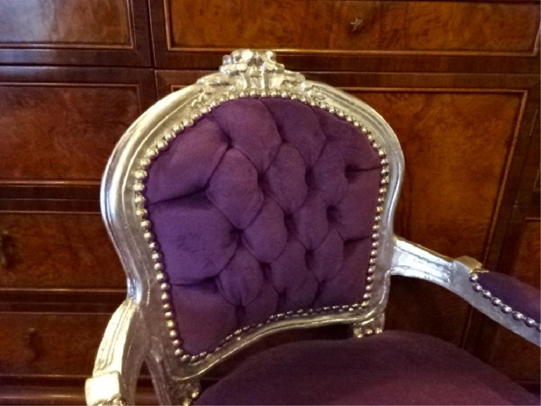 LOUIS XIV STYLE SILVER GILT CHILD'S CHAIR, PLUM TUFTED - 2