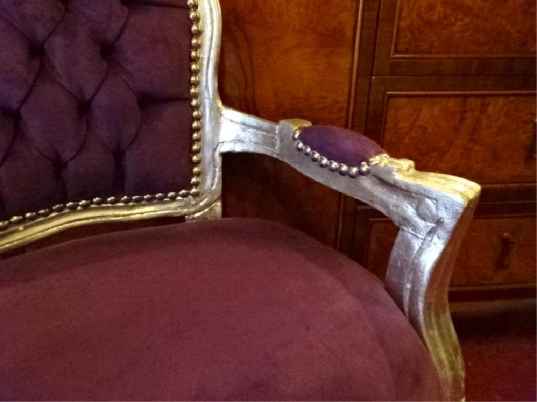 LOUIS XIV STYLE SILVER GILT CHILD'S CHAIR, PLUM TUFTED - 4
