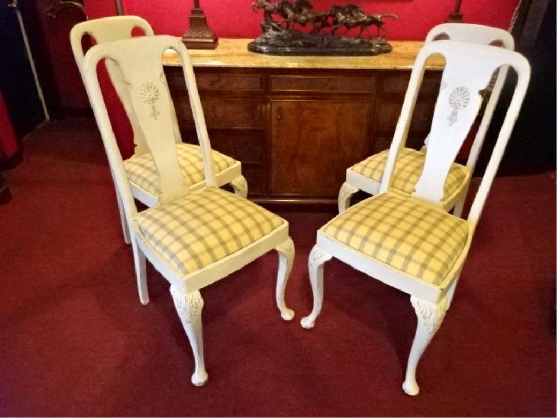 4 PAINTED DINING CHAIRS, IVORY / BONE PAINTED FINISH,