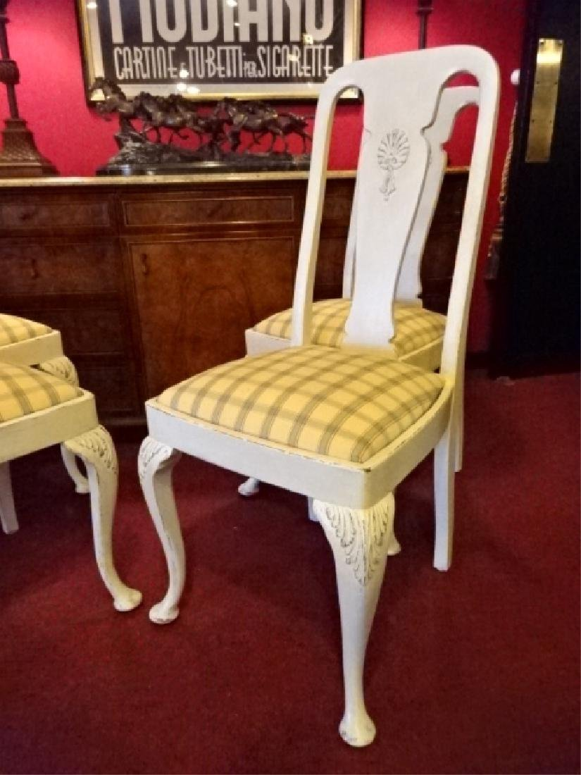 4 PAINTED DINING CHAIRS, IVORY / BONE PAINTED FINISH, - 2