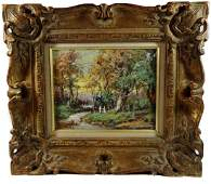 OIL PAINTING ON BOARD, FOREST SCENE, SIGNED LOWER