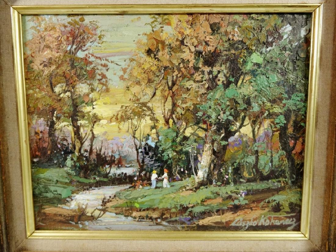 OIL PAINTING ON BOARD, FOREST SCENE, SIGNED LOWER - 2