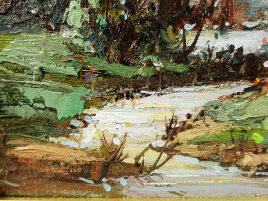 OIL PAINTING ON BOARD, FOREST SCENE, SIGNED LOWER - 4
