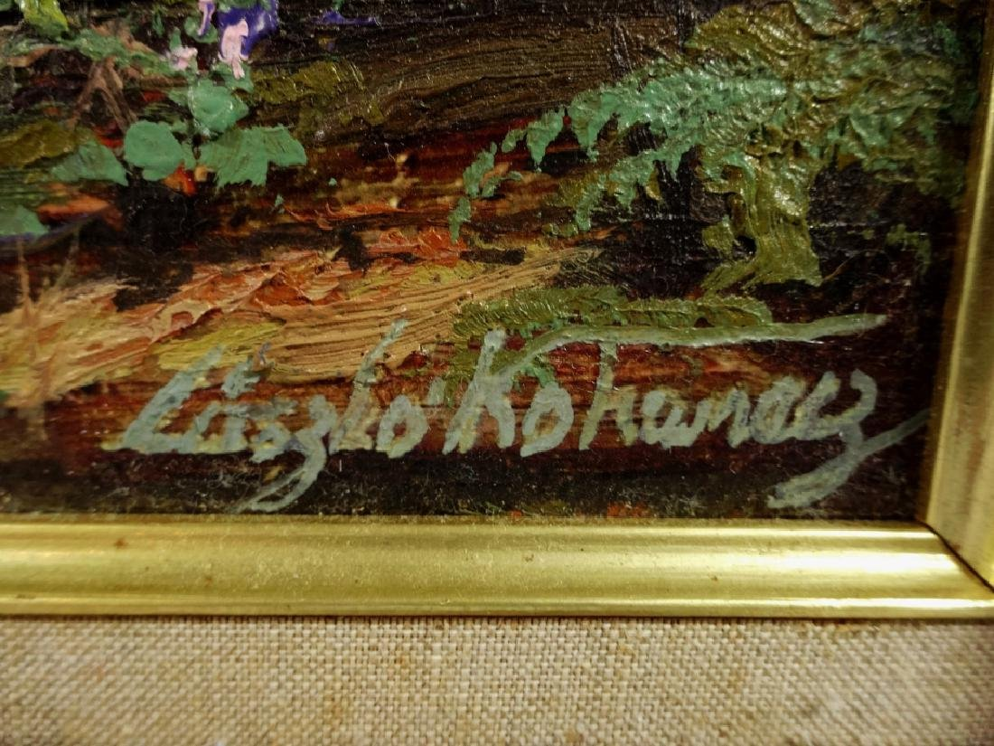 OIL PAINTING ON BOARD, FOREST SCENE, SIGNED LOWER - 5
