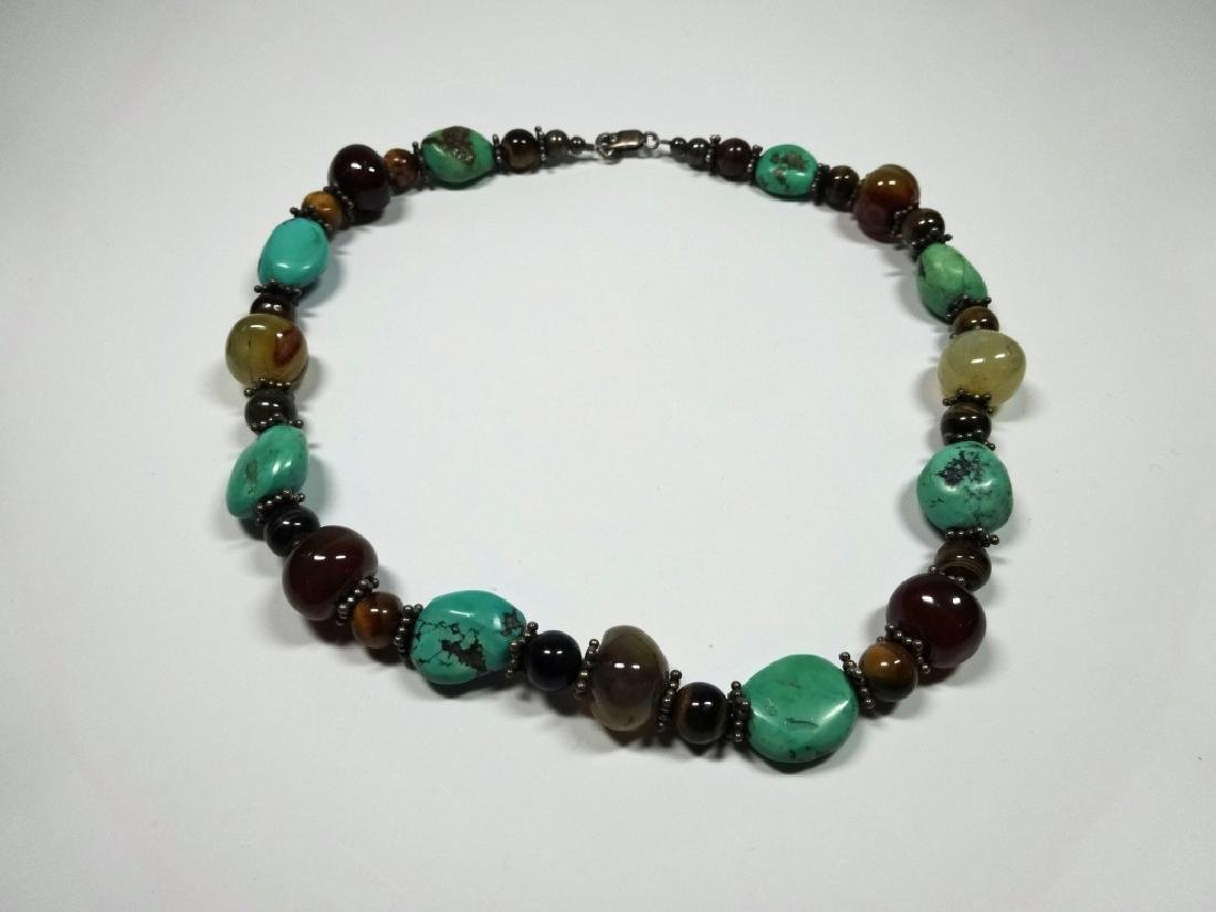 BEAD NECKLACE, TURQUOISE, STERLING, TIGER EYE & ONYX,