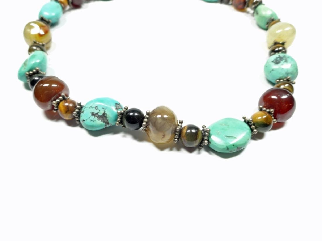 BEAD NECKLACE, TURQUOISE, STERLING, TIGER EYE & ONYX, - 2