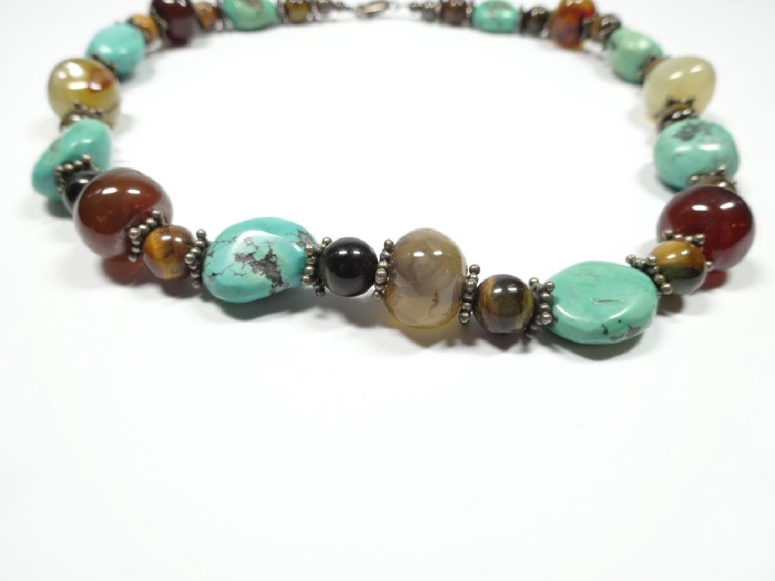 BEAD NECKLACE, TURQUOISE, STERLING, TIGER EYE & ONYX, - 3