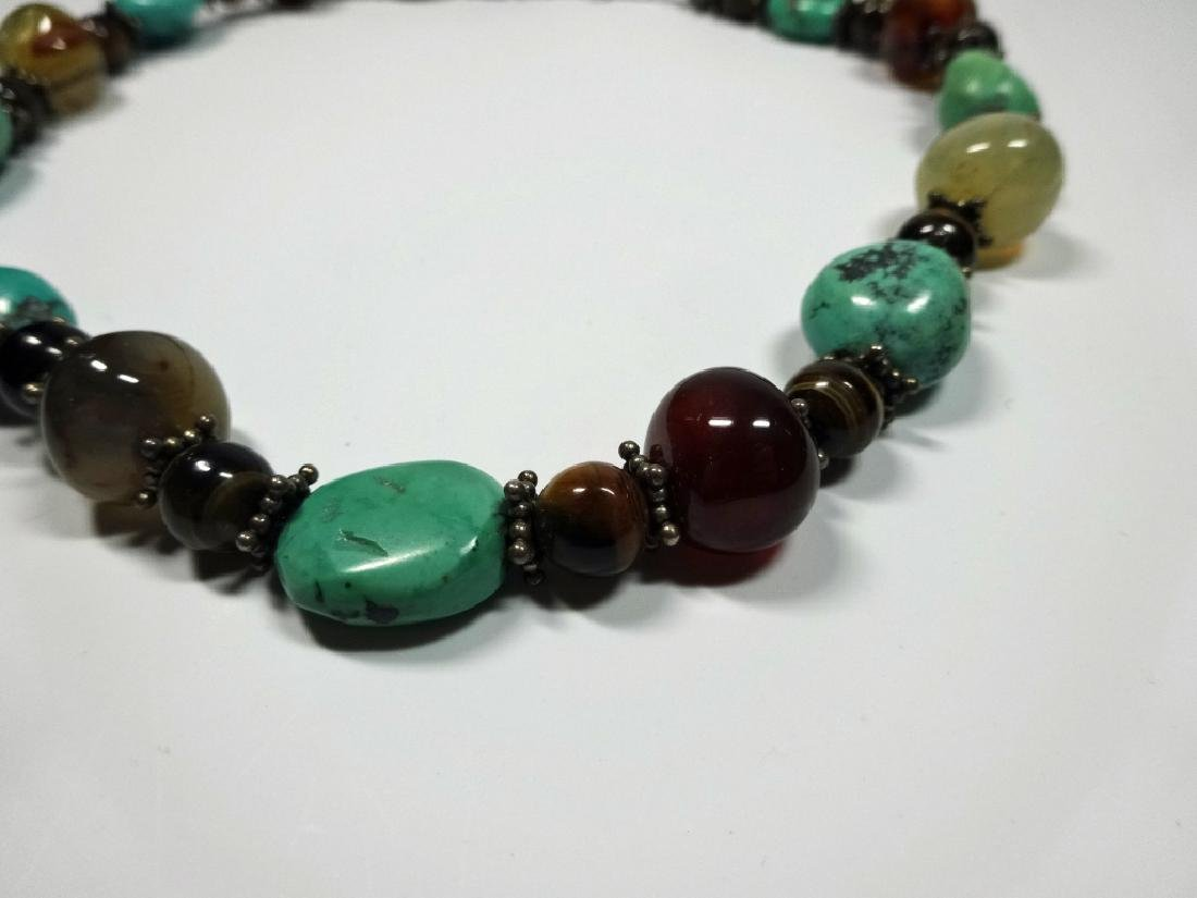 BEAD NECKLACE, TURQUOISE, STERLING, TIGER EYE & ONYX, - 4