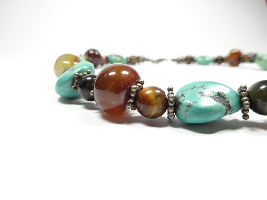 BEAD NECKLACE, TURQUOISE, STERLING, TIGER EYE & ONYX, - 5