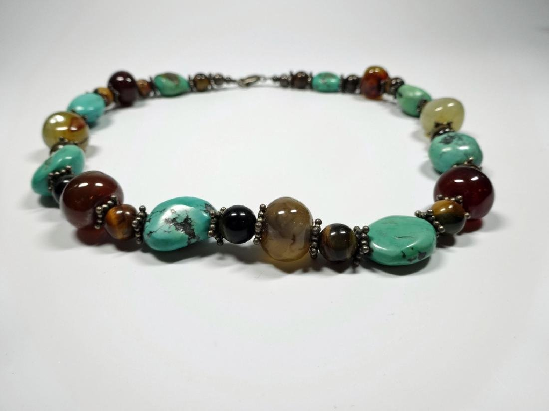 BEAD NECKLACE, TURQUOISE, STERLING, TIGER EYE & ONYX, - 7