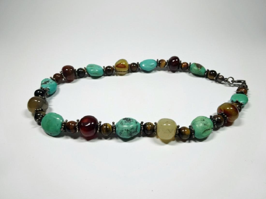 BEAD NECKLACE, TURQUOISE, STERLING, TIGER EYE & ONYX, - 8