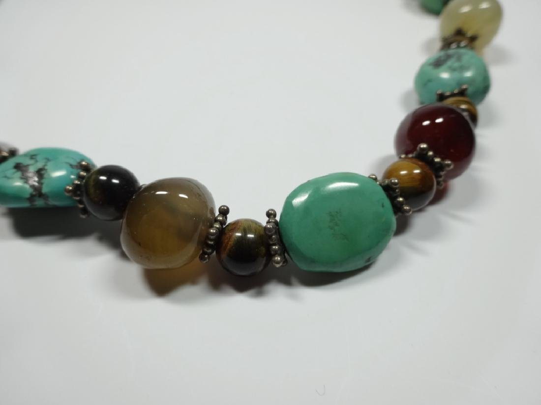 BEAD NECKLACE, TURQUOISE, STERLING, TIGER EYE & ONYX, - 9