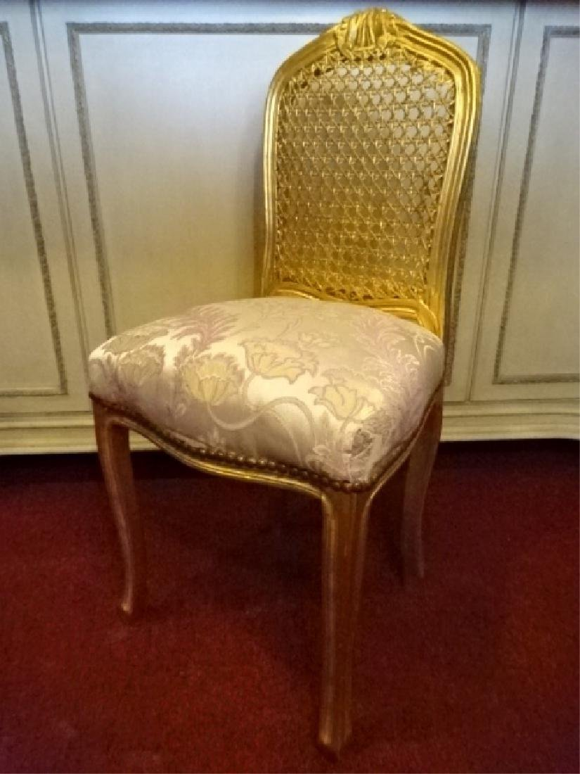 GOLD GILT WOOD BOUDOUIR OR VANITY CHAIR, CANE BACK,