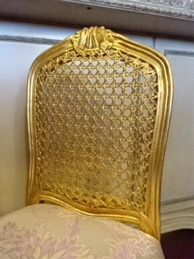 GOLD GILT WOOD BOUDOUIR OR VANITY CHAIR, CANE BACK, - 2