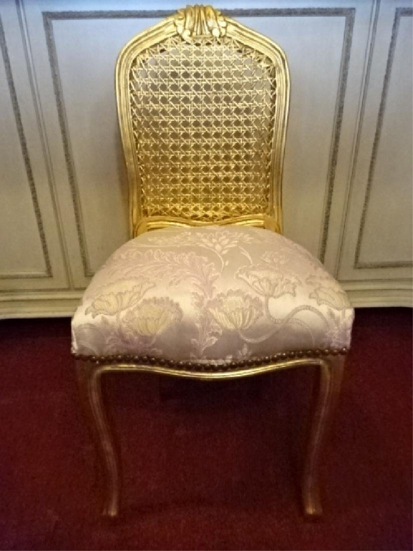 GOLD GILT WOOD BOUDOUIR OR VANITY CHAIR, CANE BACK, - 4
