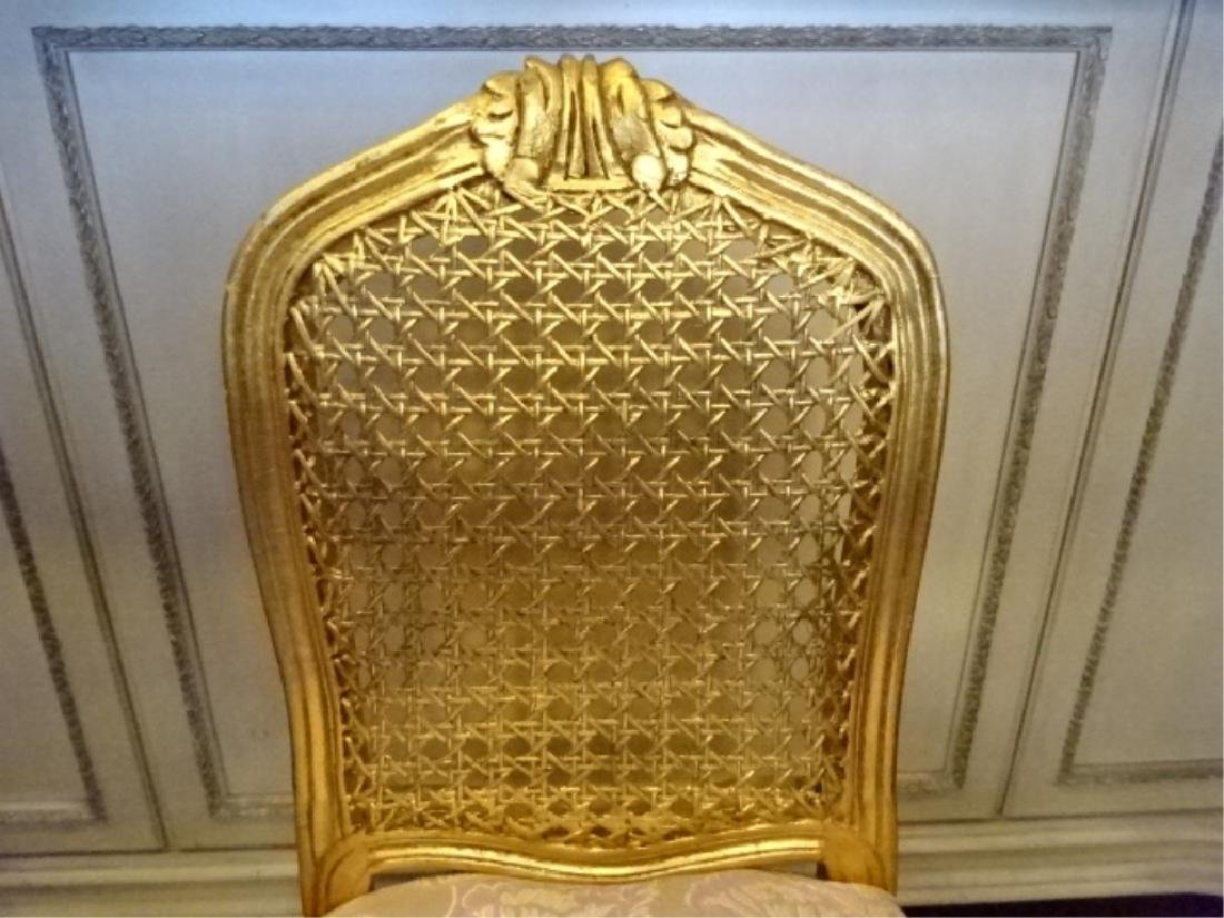 GOLD GILT WOOD BOUDOUIR OR VANITY CHAIR, CANE BACK, - 5