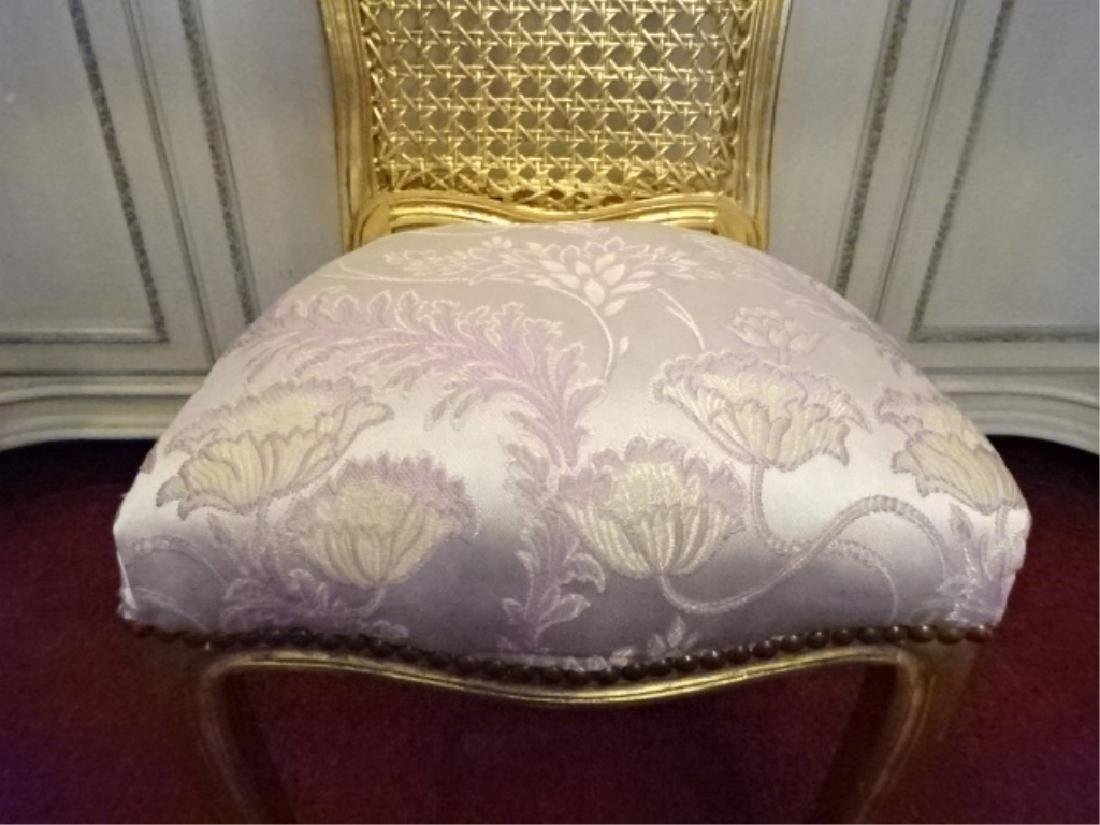 GOLD GILT WOOD BOUDOUIR OR VANITY CHAIR, CANE BACK, - 6