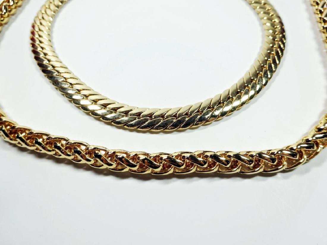 """2 WIDE GOLD TONE CHAINS, APPROX 24"""" & 18"""", SOLD"""