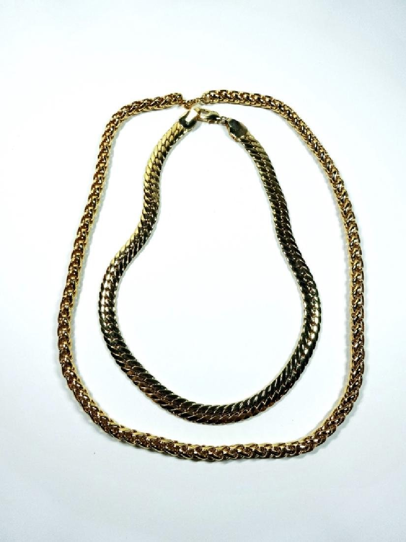 """2 WIDE GOLD TONE CHAINS, APPROX 24"""" & 18"""", SOLD - 2"""