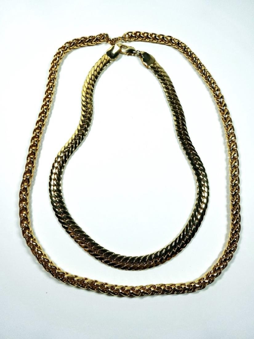 """2 WIDE GOLD TONE CHAINS, APPROX 24"""" & 18"""", SOLD - 3"""