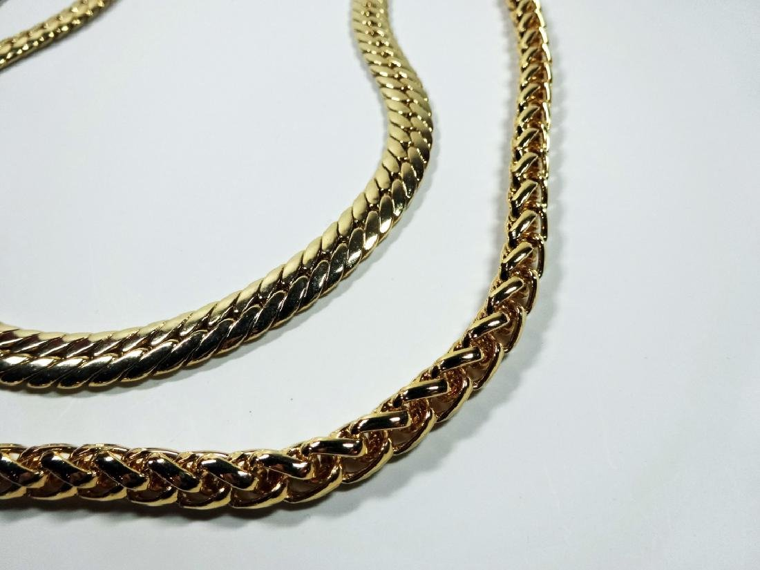 """2 WIDE GOLD TONE CHAINS, APPROX 24"""" & 18"""", SOLD - 5"""