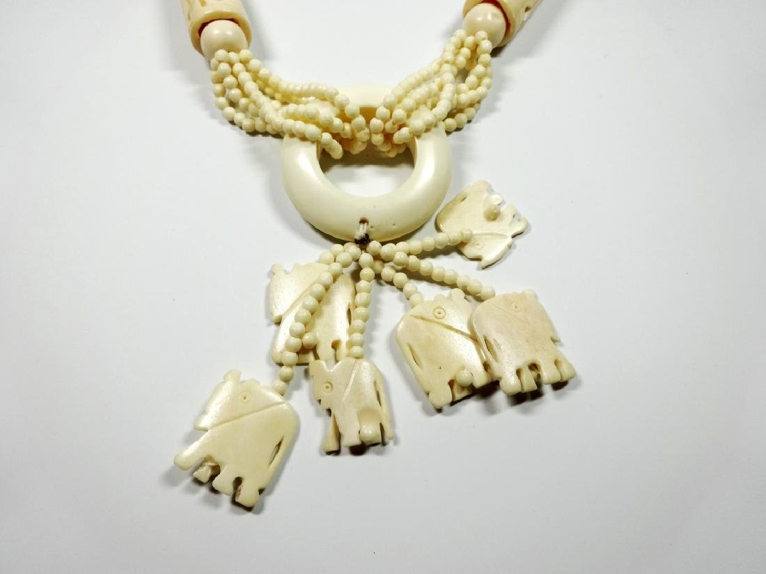 "CARVED BONE NECKLACE, ELEPHANTS, APPROX 34""L, - 2"