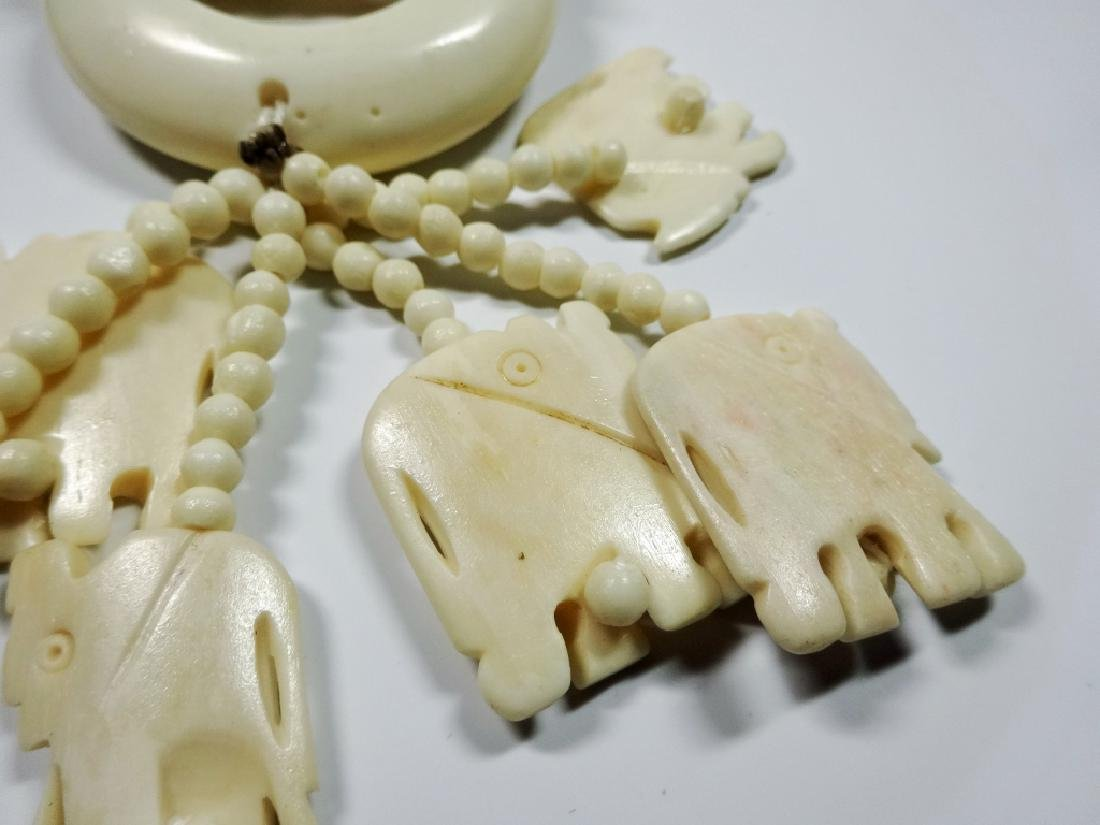 "CARVED BONE NECKLACE, ELEPHANTS, APPROX 34""L, - 3"