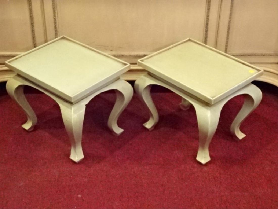 PAIR WOOD TABLES, LIGHT GREEN PAINTED FINISH, GOOD