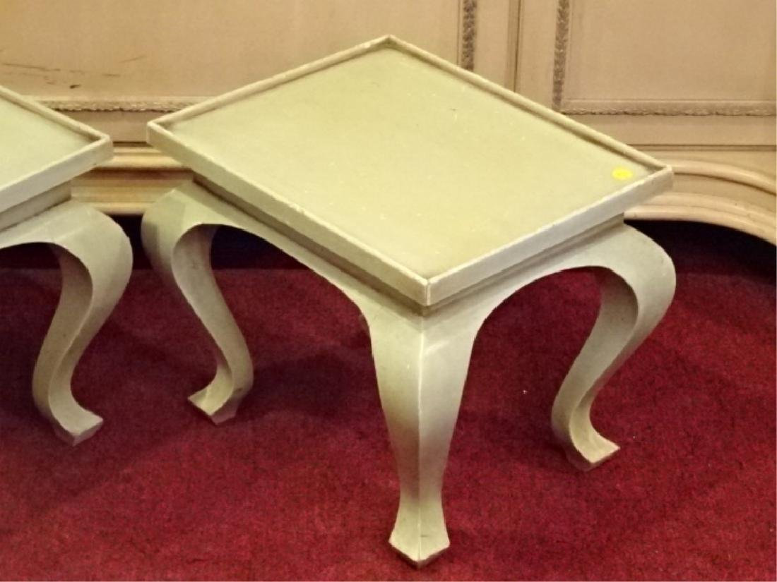 PAIR WOOD TABLES, LIGHT GREEN PAINTED FINISH, GOOD - 2