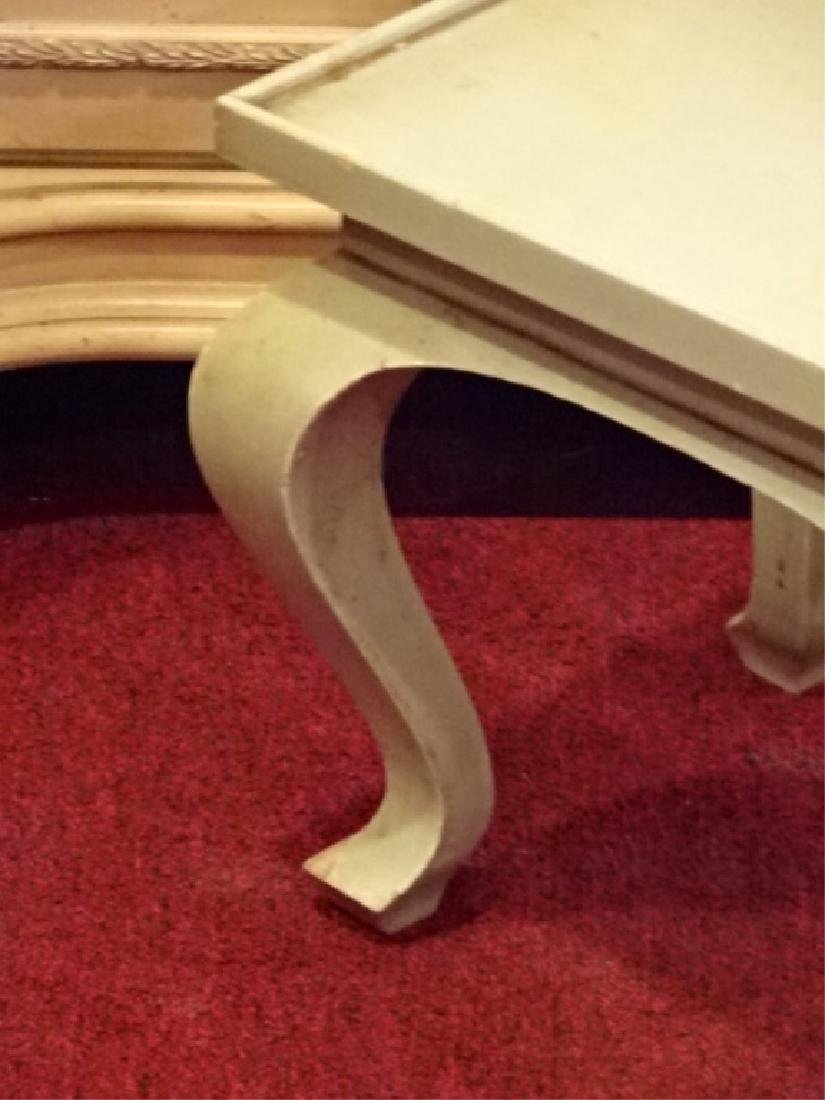 PAIR WOOD TABLES, LIGHT GREEN PAINTED FINISH, GOOD - 3