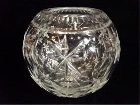 LARGE VINTAGE ROUND CRYSTAL VASE, VERY GOOD CONDITION,