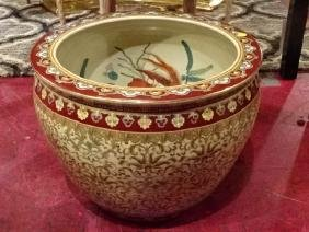 LARGE CHINESE PORCELAIN GOLD FISH BOWL, RED AND GOLD