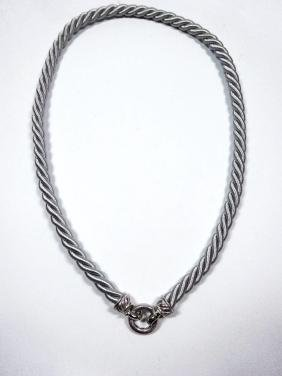 JUDITH RIPKA STERLING SILVER NECKLACE, GRAY TWISTED