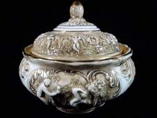 ITALIAN CAPODIMONTE PORCELAIN BOWL WITH LID GOLD