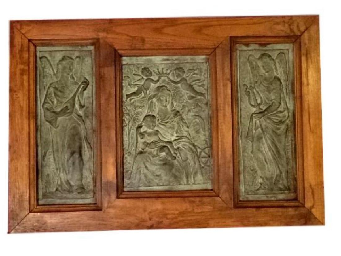 3 FRAMED BRONZE PLAQUES, MADONNA AND CHILD WITH ANGELS,