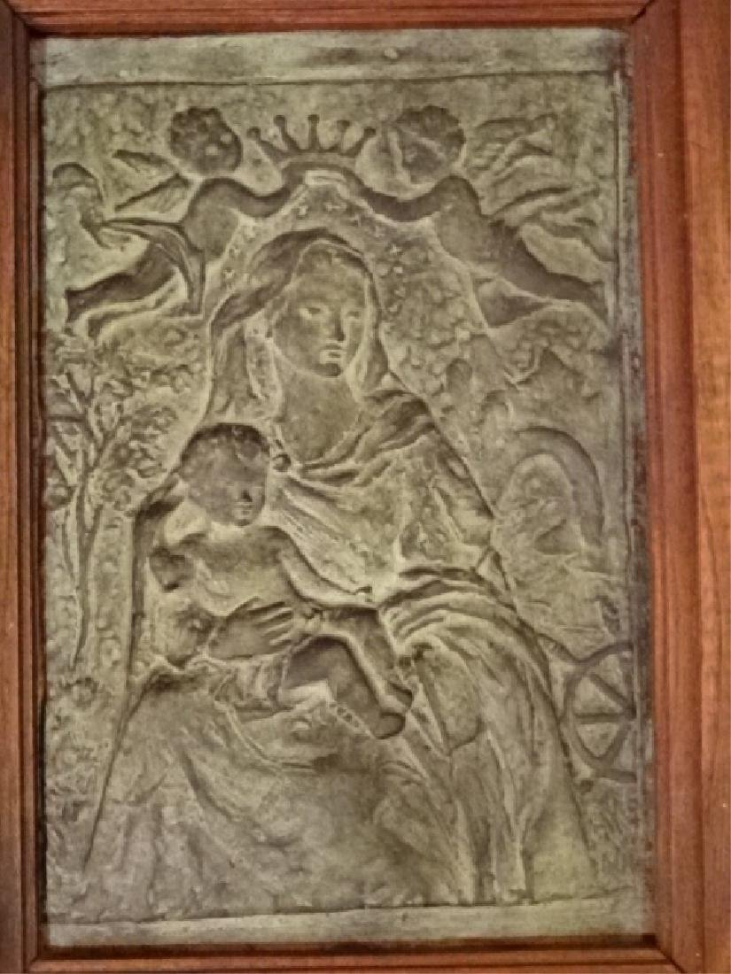3 FRAMED BRONZE PLAQUES, MADONNA AND CHILD WITH ANGELS, - 2