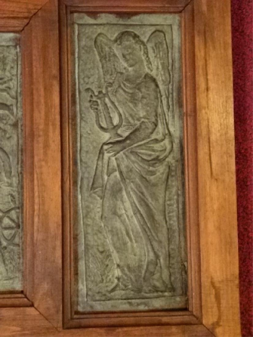 3 FRAMED BRONZE PLAQUES, MADONNA AND CHILD WITH ANGELS, - 3
