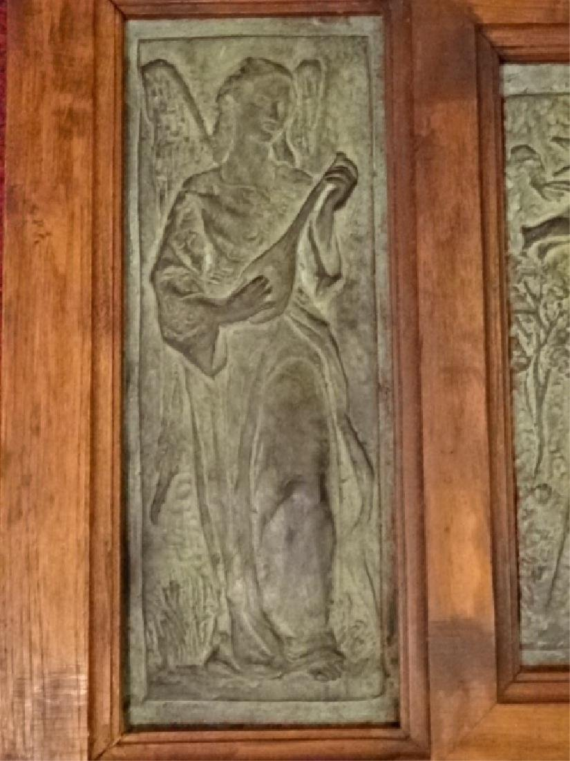 3 FRAMED BRONZE PLAQUES, MADONNA AND CHILD WITH ANGELS, - 4