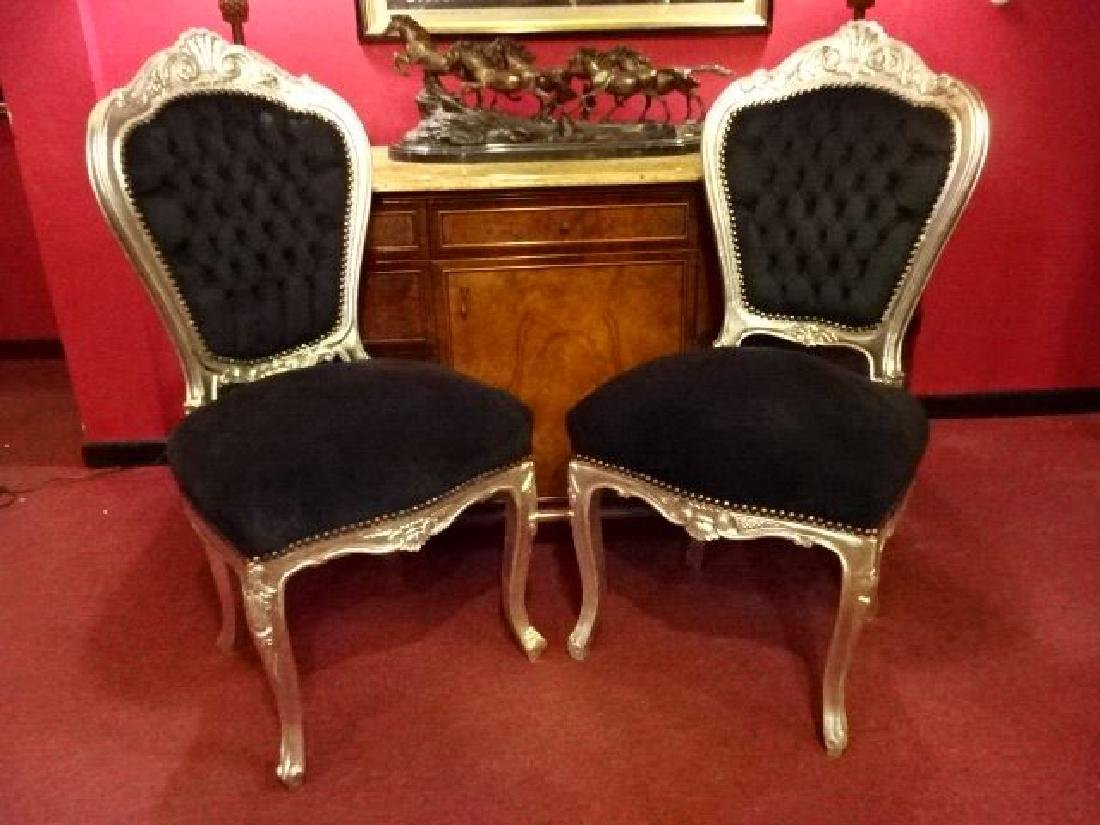 PAIR LOUIS XV STYLE SILVER GILT CHAIRS, BLACK VELVET