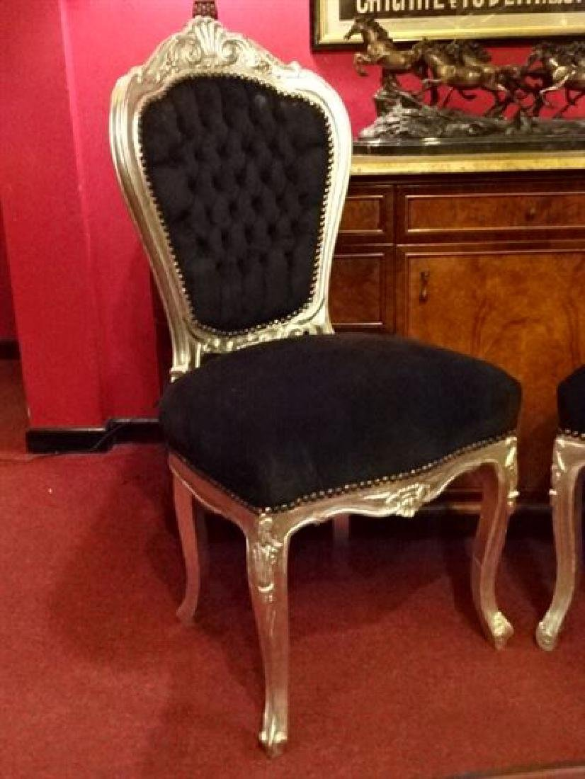 PAIR LOUIS XV STYLE SILVER GILT CHAIRS, BLACK VELVET - 3