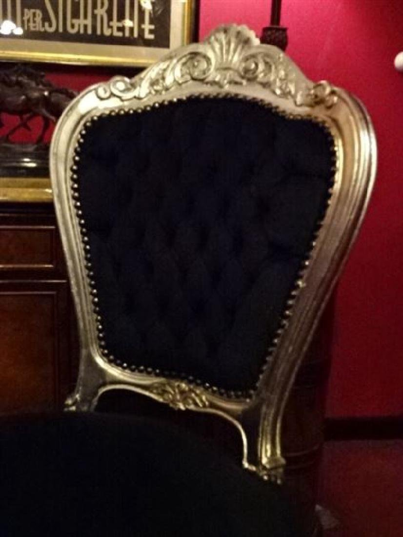 PAIR LOUIS XV STYLE SILVER GILT CHAIRS, BLACK VELVET - 4