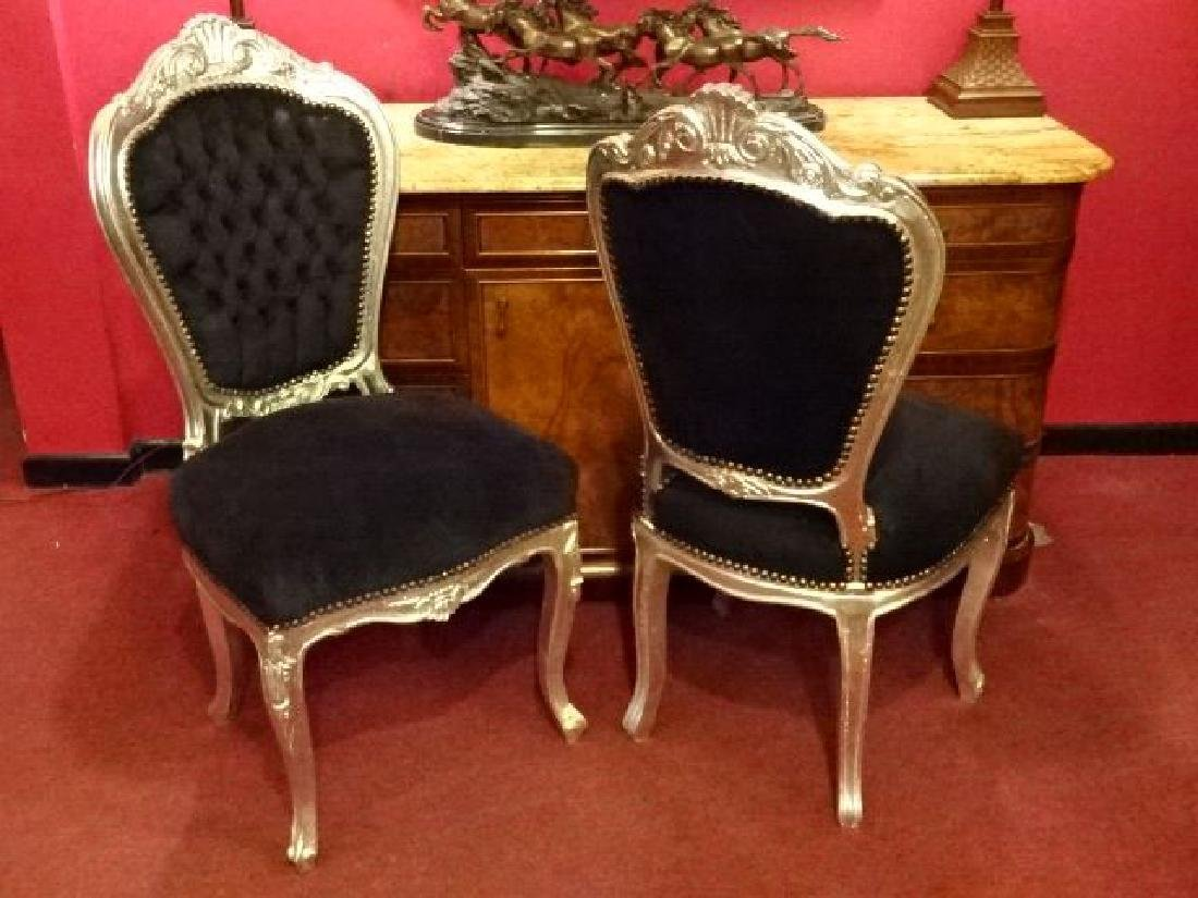 PAIR LOUIS XV STYLE SILVER GILT CHAIRS, BLACK VELVET - 6