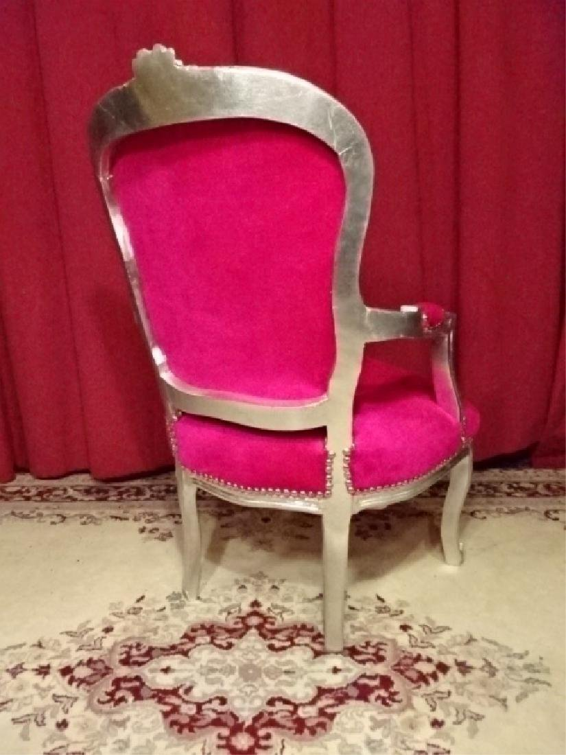 LOUIS XV STYLE SILVER GILT FAUTEUIL ARM CHAIR, HOT PINK - 7