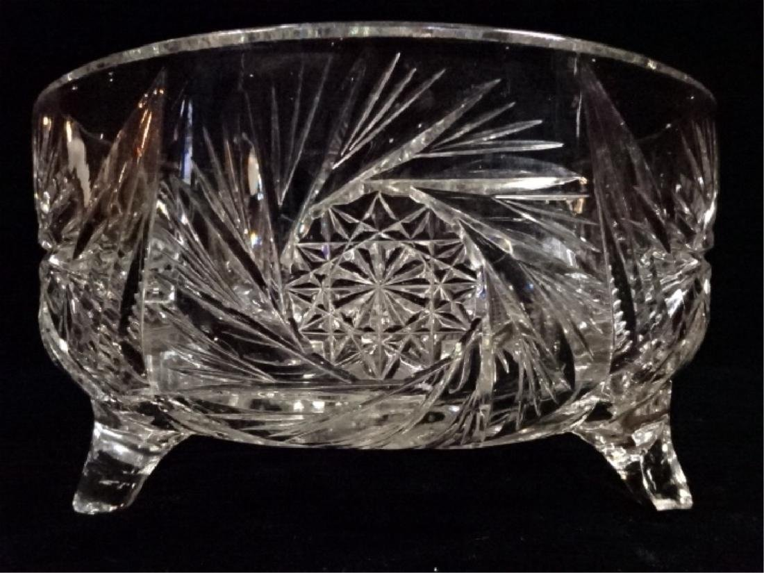 VINTAGE ROUND CRYSTAL FOOTED BOWL, VERY GOOD CONDITION,