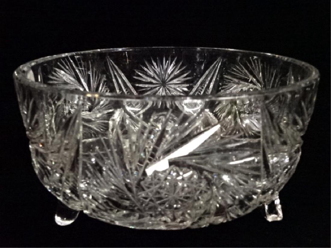 VINTAGE ROUND CRYSTAL FOOTED BOWL, VERY GOOD CONDITION, - 2
